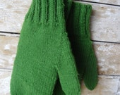 Green Adult  Mittens Handmade