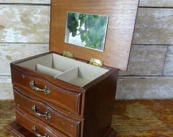 Vintage Jewelry Box Wooden  Cream  Interior