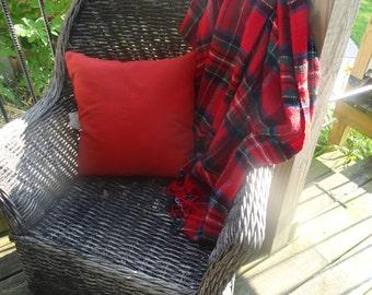 Vintage Fringe Tarden Lap Blanket Red Blue White Black