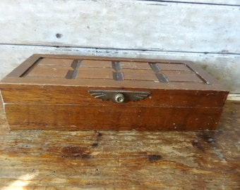 Vintage Valet or Jewelry Box For Men Wood an Fabric