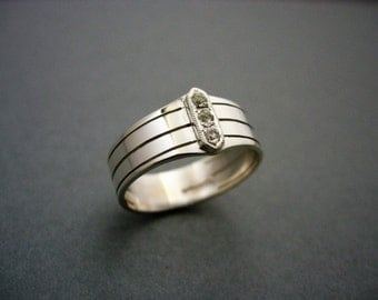 Mens silver plain double ring