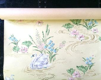 1930s Vintage Wallpaper Swans