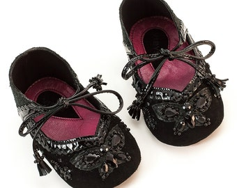 Baby Girl Shoes, Soft Sole Baby Shoes, Baby Crib Shoes, Black Baby shoes, Crib Shoes Christening shoes by Vibys