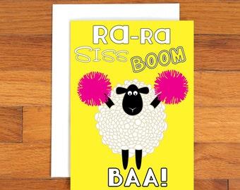 Ra Ra Siss Boom Baa - Sheep Card - Funny Greeting Card