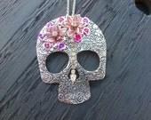 Sugar Skull Necklace / Skull Jewelry / Large Skull Pendant / Multicolor Skull / Day of the Dead Accessory