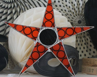 Orange Sphere Star- 10 inch lacquered glass points with black glass cabochon center