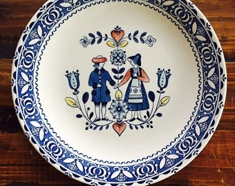 Ironstone Plate Old Granite Hearts & Flowers Plate Johnson Brothers Staffordshire Pennsylvania Dutch