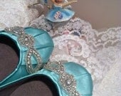 Wedding Shoes - Ballet Flats - Aqua Blue - Crystals - Flats - Shoes - Handmade Wedding - Aqua Blue Wedding - Choose Over 100 Colors