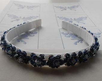 Blue Flower Headband Navy Silver Sequin Flowers Party Headbands Wedding Prom Hair Accessories Handmade Headbands Crowns Tiaras Gifts for Her