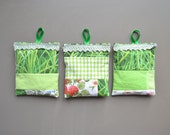 green patchwork lavender pillows - garden sachets - mothersday gift - hostess gift - bedroom fresh - sachets with loop - lavender pillow