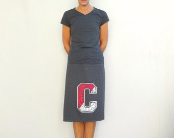 Cornell University T Shirt Skirt Womens Tee Skirt Charcoal Gray Red Cotton Skirt Handmade Skirt T-Shirt Clothing Upcycled Repurposed ohzie