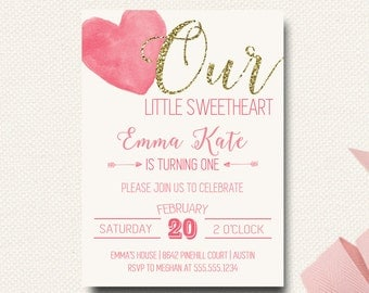 Valentine Birthday Invitation | Our Little Sweetheart Birthday Party Invite Invitation | Glitter Pink Watercolor DIY Printable