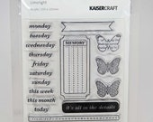 KaiserCraft Limelight Clear Stamps -- Acrylic -- Planner Days Week Journal Butterfly