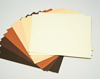 DESTASH Basic Timeless Colors Cardstock -- 6 x 6 inch -- High Quality Textured Cardstock  -- 12 Pieces