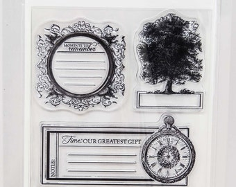KaiserCraft Heirloom Clear Stamps -- Acrylic -- Family Tree Pocket Watch