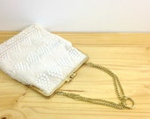 Vintage White Beaded Purse / Small Handbag / Beaded Clutch Purse / Flapper Purse / Art Deco Style / Wedding Purse / Evening Bag