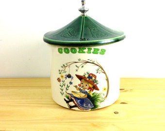 Vintage McCoy Cookie Jar / Miss Muffet / Ceramic Canister / Nursery Rhyme / Retro Kitchen Decor / White and Green
