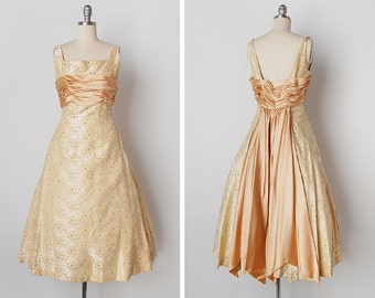 vintage 1950s dress / 50s brocade dress / 50s cocktail dress / Enchanted Evening dress