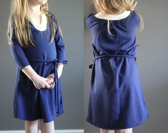 Sample SALE Wonderland dress 5 ready to ship navy ivory knit play dress jumper 5y
