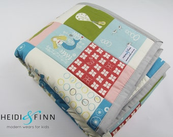 organic baby quilt blanket playmat STORYBOOK green brown blue white ready to ship
