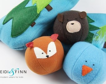 NEW Forest Friends soft toy animal ball 3 plush toy balls in a zippered forest