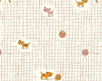 Spring Sale! Heather Ross Tiger Lily by Windham Kittens and Yarn in Pink 1 yard