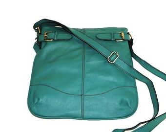 Teal Green Genuine Leather Messenger Bag Vidal // Leather Cross-body Bag