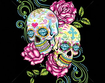 Womans Black Tank Top Day of the Dead Two Sugar Skulls with Roses T Shirt  17034