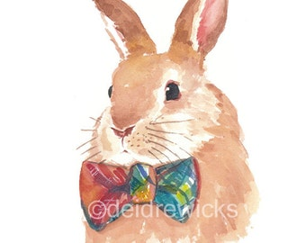 Rabbit Watercolor PRINT -  Bunny Rabbit Illustration, Children's Art, Animal Watercolour Painting, Nursery Art