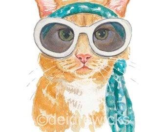Orange Cat 11x14 PRINT - Cat Watercolor Painting, Orange Tabby, Ginger Cat, Cat wearing Glasses, Nursery Art