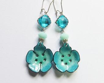 Aqua enameled flower earrings Whimsical bohemian jewelry Fun turquoise sea green enamel and crystal dangles