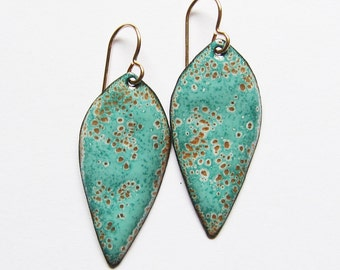 Aqua dangle earrings Mint seafoam green enamel leaf earrings Enamel jewelry Gold wires Bohemian jewelry