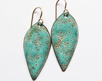 Aqua enamel earrings Mint green leaf dangle earrings Enamel jewelry Gold wires Bohemian jewelry