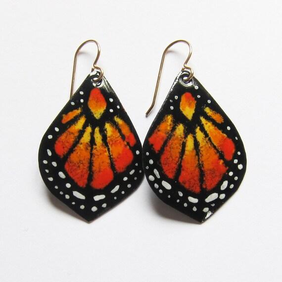 Orange butterfly earrings Butterfly wings enamel earrings Butterfly art jewelry Unique earrings