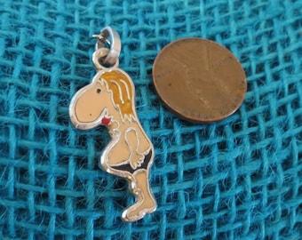 Enameled Cartoon Man in Bathing Suit Sterling Charm or Pendant