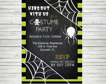 Halloween Invitation Hanging Spider Editable Invitation ~ Halloween Spider Web Invitation Thank You Card Notes Game Card DIY HW34