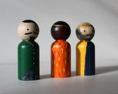 Peg Doll Nativity - Wooden Nativity Three Wise Kings Set - Wise Men - Waldorf Nativity - MAKE TO ORDER
