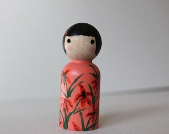Peg Doll - Mini Kokeshi Doll - Wooden Doll Waldorf Handpainted - Tigerlilies