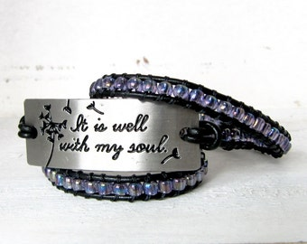 "Light Purple Leather Wrap Bracelet, ""It Is Well With My Soul"" Silver Quote Bracelet, Triple Wrap, Whimsical Purple Black Leather Wrap"