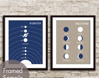 The Solar System and Moon Phases - 2 Art Prints (Featured in Navy and Truffle Brown) Modern Astronomy / Outer Space Art Print