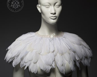 White feather cape / Wedding capelet / White goose feather bridal cape