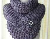 Hand Knit  Shawl Triangle Scarf in Soft ALPACA blend with Pin in Purple, Brown, Terracotta colors/ Romantic Shrug