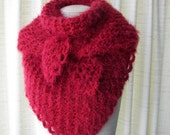 Hand Knit COZY SOFT Shawl Triangle Scarf Wrap in RED Angel Hair/ Gift under 50 dollars /  Bridal wrap shawl