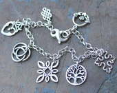 Sterling Silver Celtic Symbols Charm Bracelet - knots, tree of life, Claddagh ring, cross, circles, heart with crown - free shipping in USA