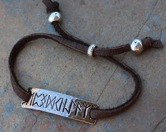 Rune bracelet- Handmade fine silver runic bar connector on deer suede -Friendship Creativity Protection Wisdom - Viking -  free shipping USA