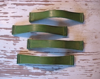 2 Mid Century Drawer Pulls Vintage Pictured in Green SET of 2 Pulls Variable Centers 3 to 3 3/4 Inch Centers Cabinet Hardware B-29