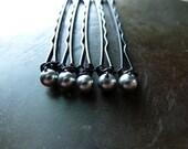 4mm Light Grey Swarovski Pearl Bobby Pins - Set of 5
