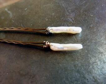 14-25mm White Keshi Stick Pearl Bobby Pins - Pearl Bobby Pin - Pair