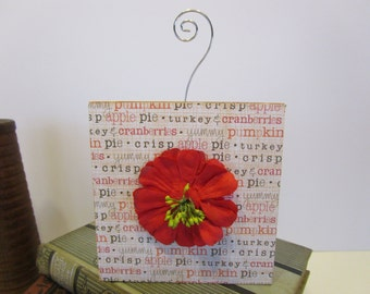 Thanksgiving Reversible Photo Holder - Chalk Paint Fall Decor - Recipe Holder - Food Marker - Wood Block