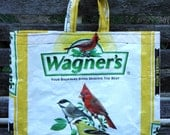 NEW LOW PRICE, Small Upcycled Recycled Repurposed  Grocery Market Tote or Gift Bag for Bird Lovers